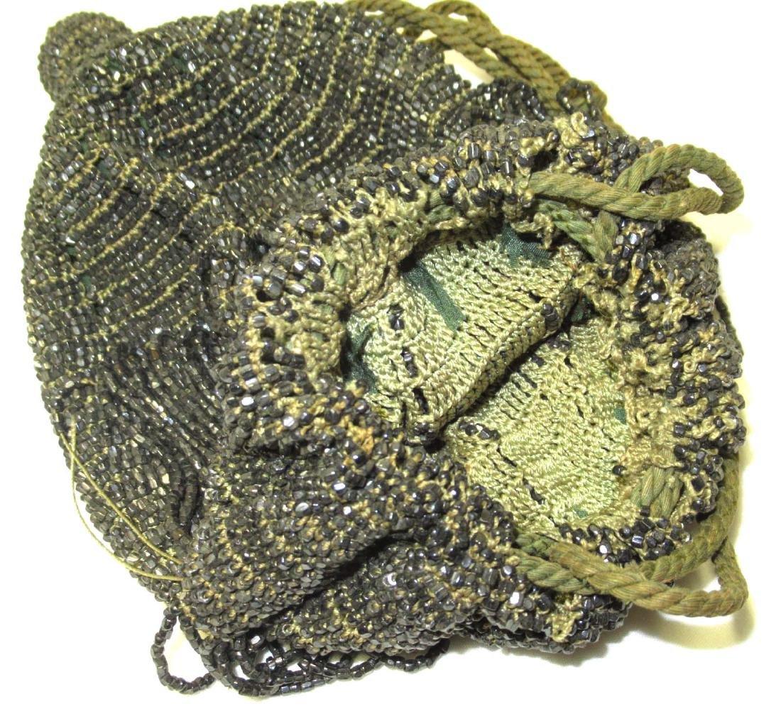 Antique Heavily Beaded w/Black Iridescent Beads - 4