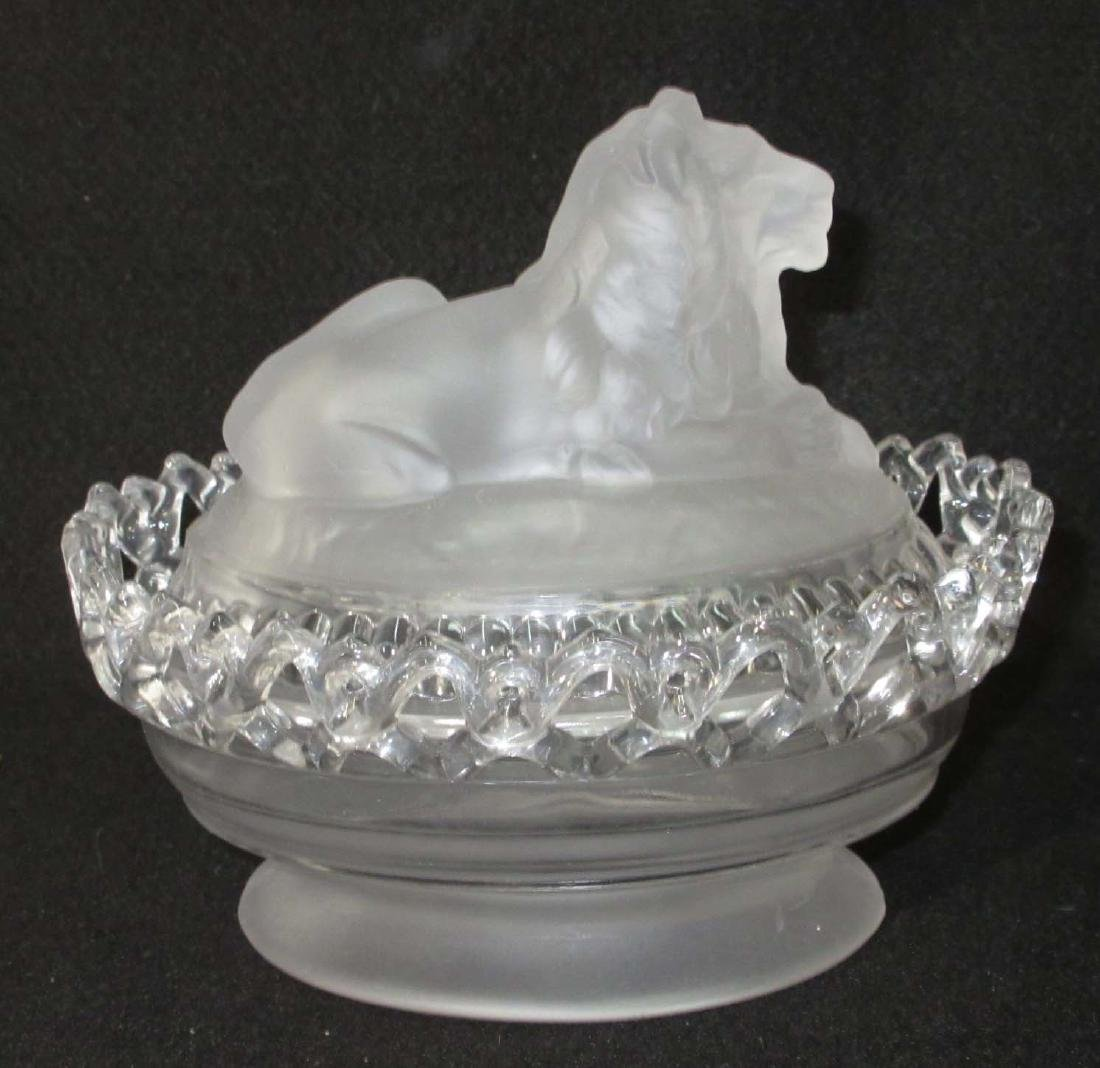 Frosted Covered Dish w/ Lion - 2