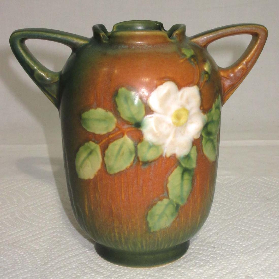 Roseville White Rose Vase 979-6 - 2