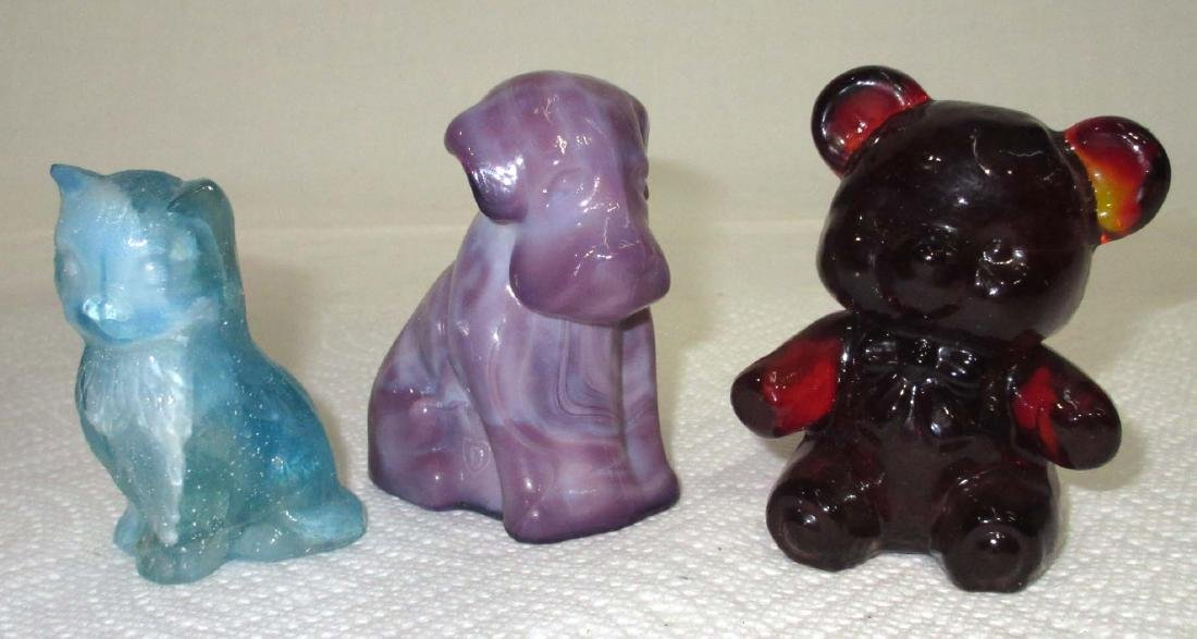 3pc Art Glass Animal Paperweights
