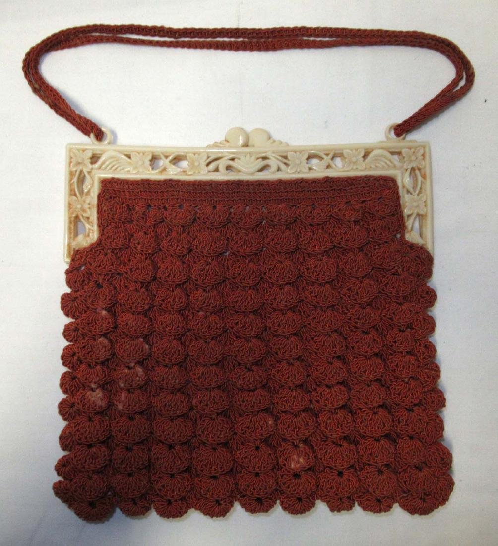 1930's Cinnamon Shell Stitch Gimp Bag, Detailed Plastic