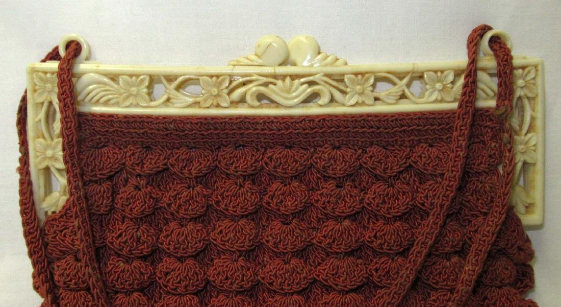 1930's Cinnamon Shell Stitch Gimp Bag, Detailed Plastic - 3