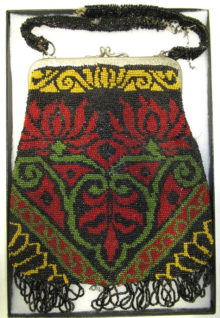 Striking Antique Red/Black/Yellow Beaded Bag