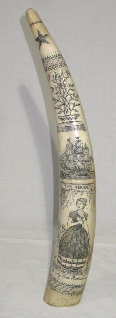 Modern Composition Scrimshaw Tooth