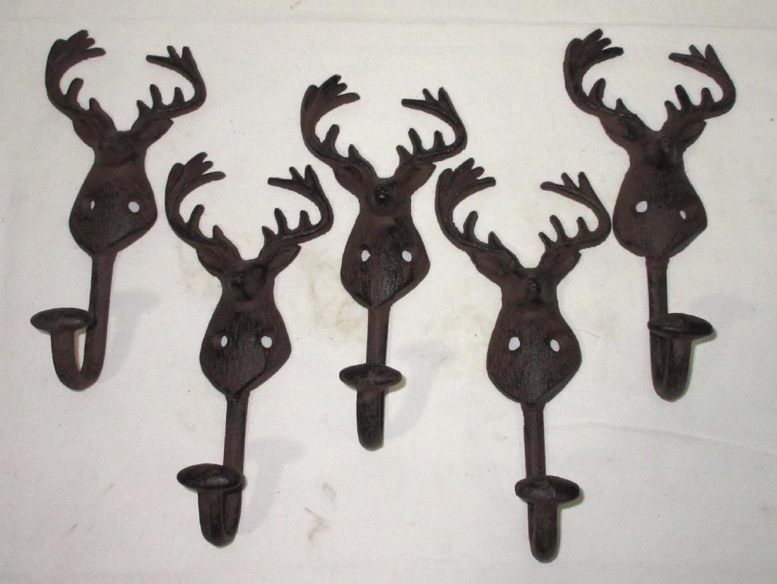 5 Modern Cast Iron Deer Hooks