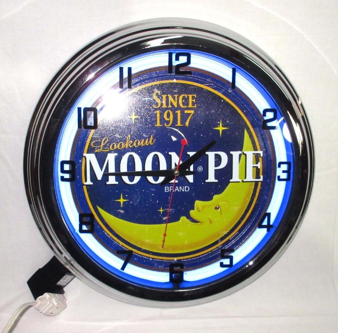 Modern Neon Moon Pie Clock