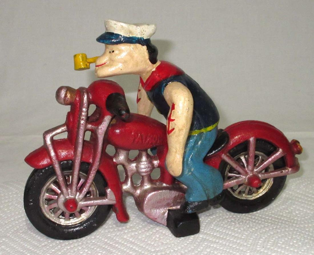 Modern Cast Iron Popeye on Motorcycle Toy