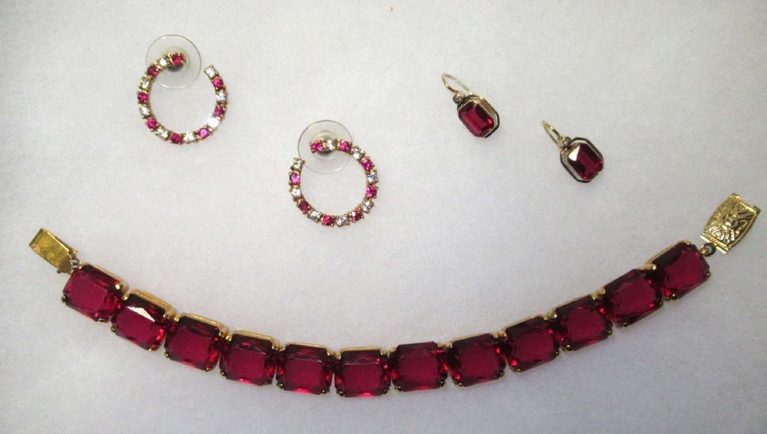 Ruby Glass Bracelet Set & Ruby Earrings