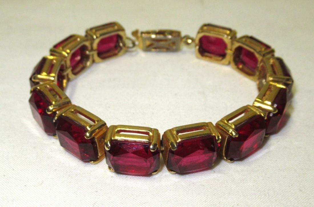 Ruby Glass Bracelet Set & Ruby Earrings - 6