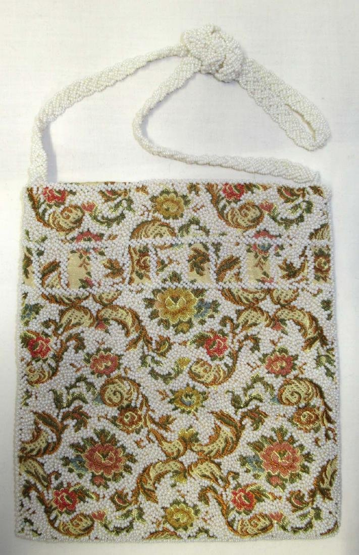 Lg. Heavily Beaded, Tapestry Material Retro Bag