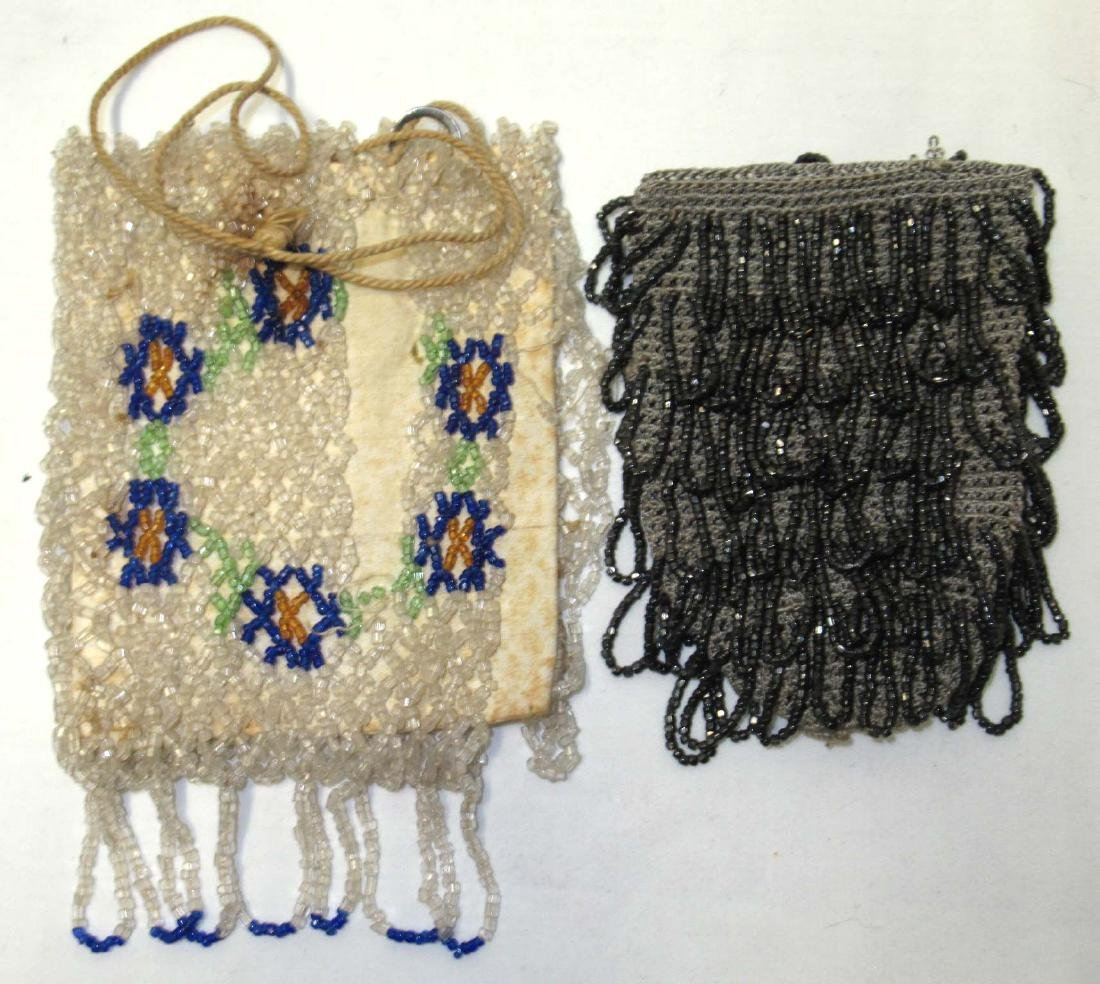 (2) Antique Beaded Small Drawstring Bags For Harvest
