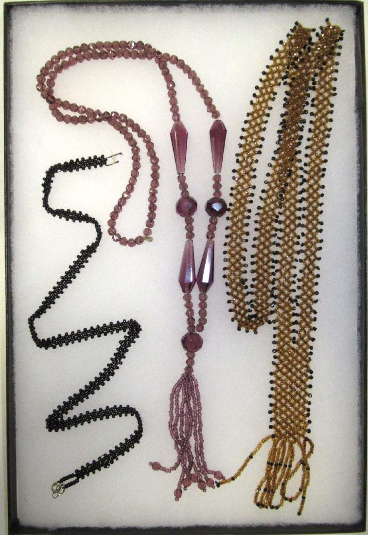 3- 1920's Glass Bead Necklaces