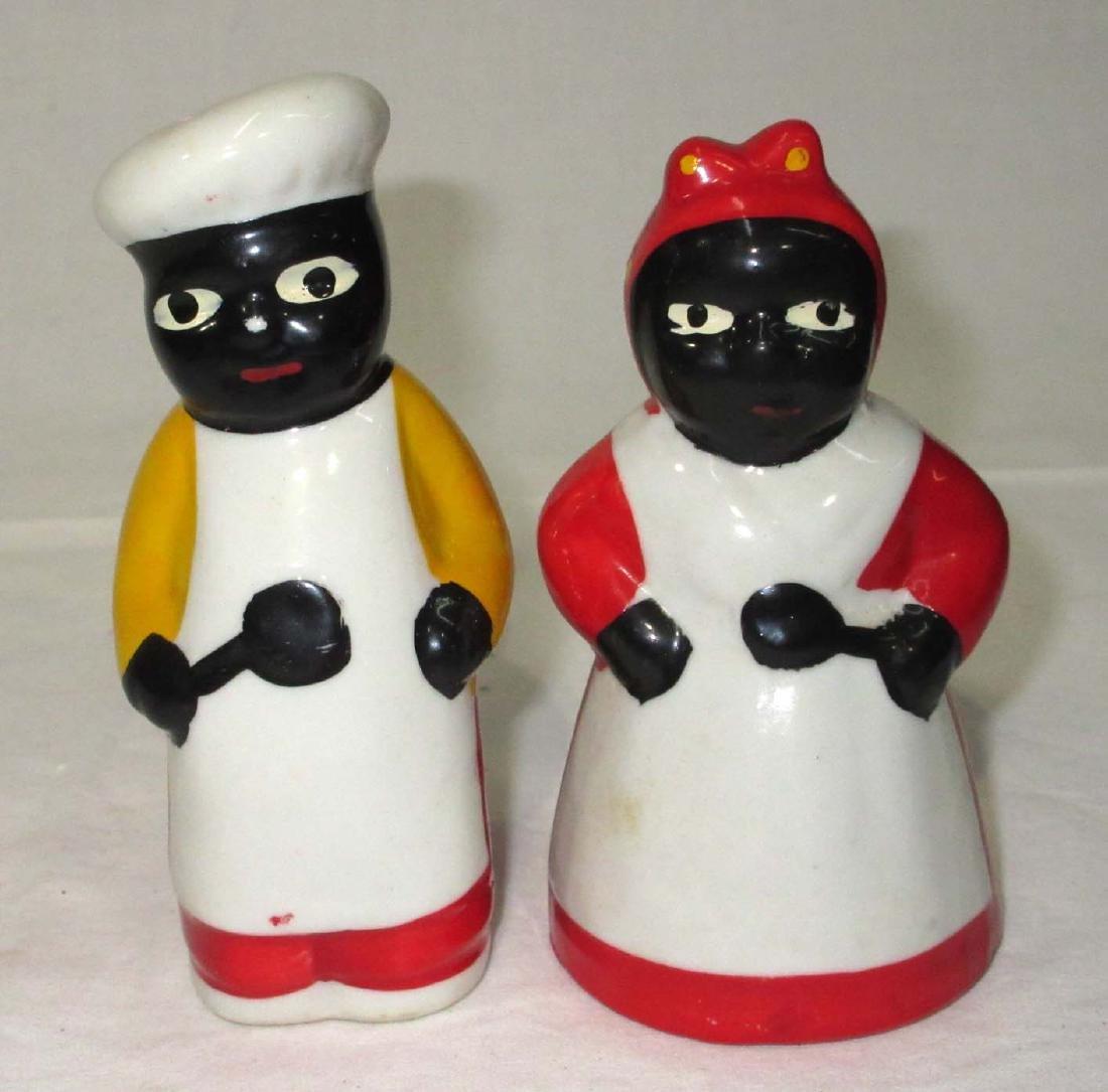 2 Modern Black Americana Salt & Pepper
