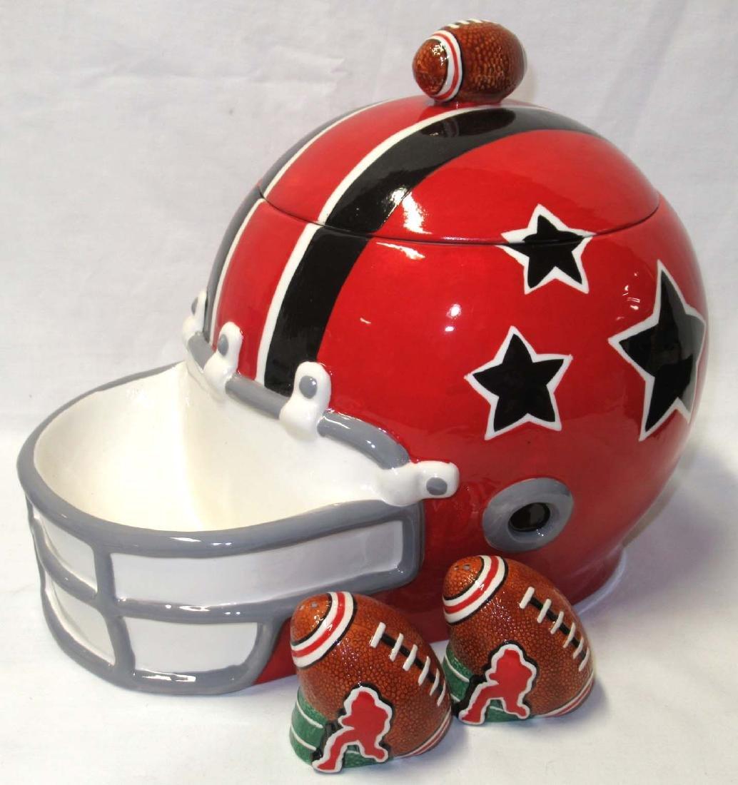 3pc Football Helmet Cookie Jar, S & P