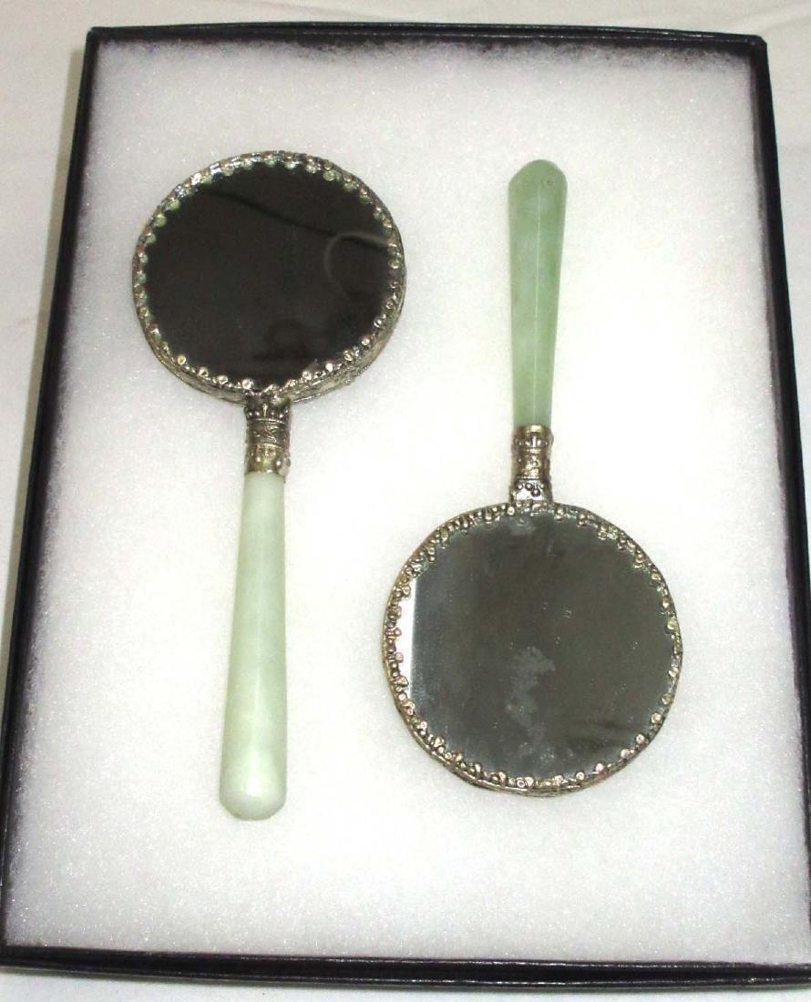 2 Modern Oriental Hand Mirrors