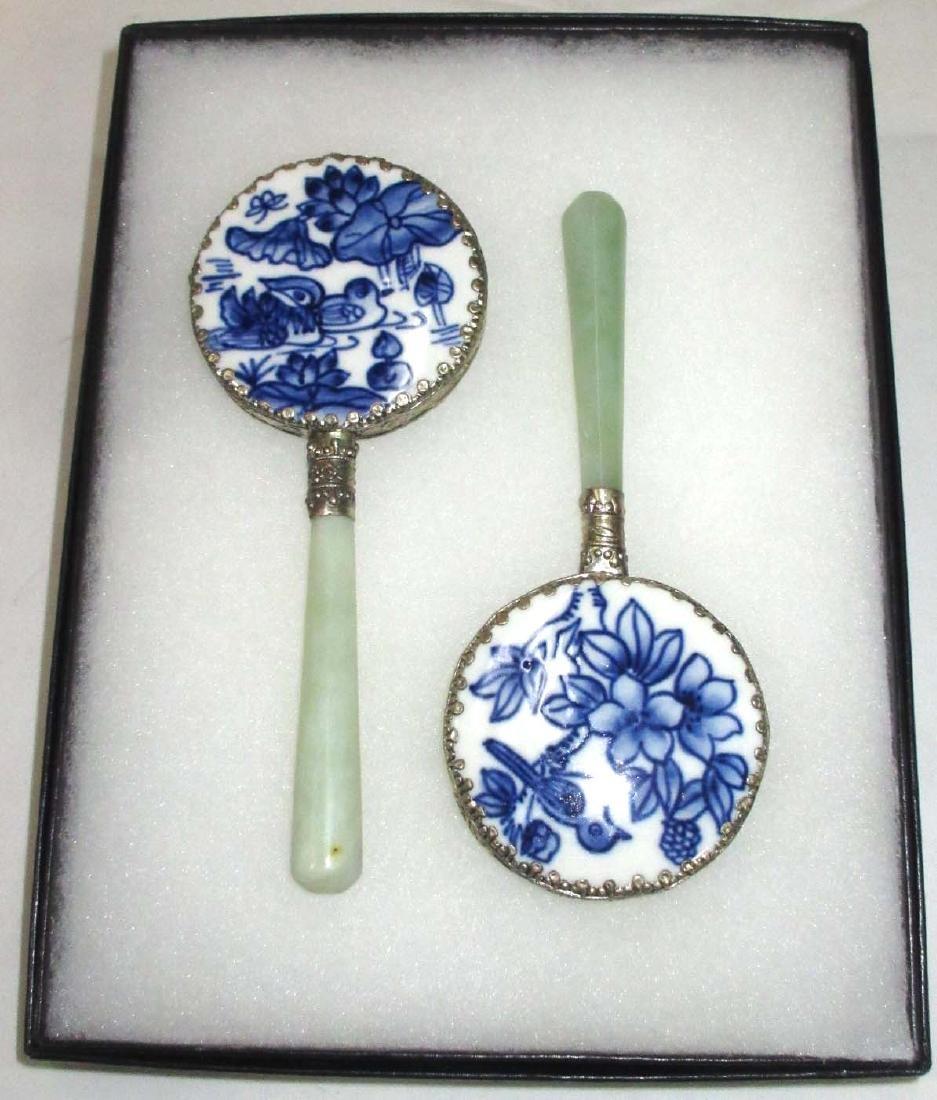 2 Modern Oriental Hand Mirrors - 2