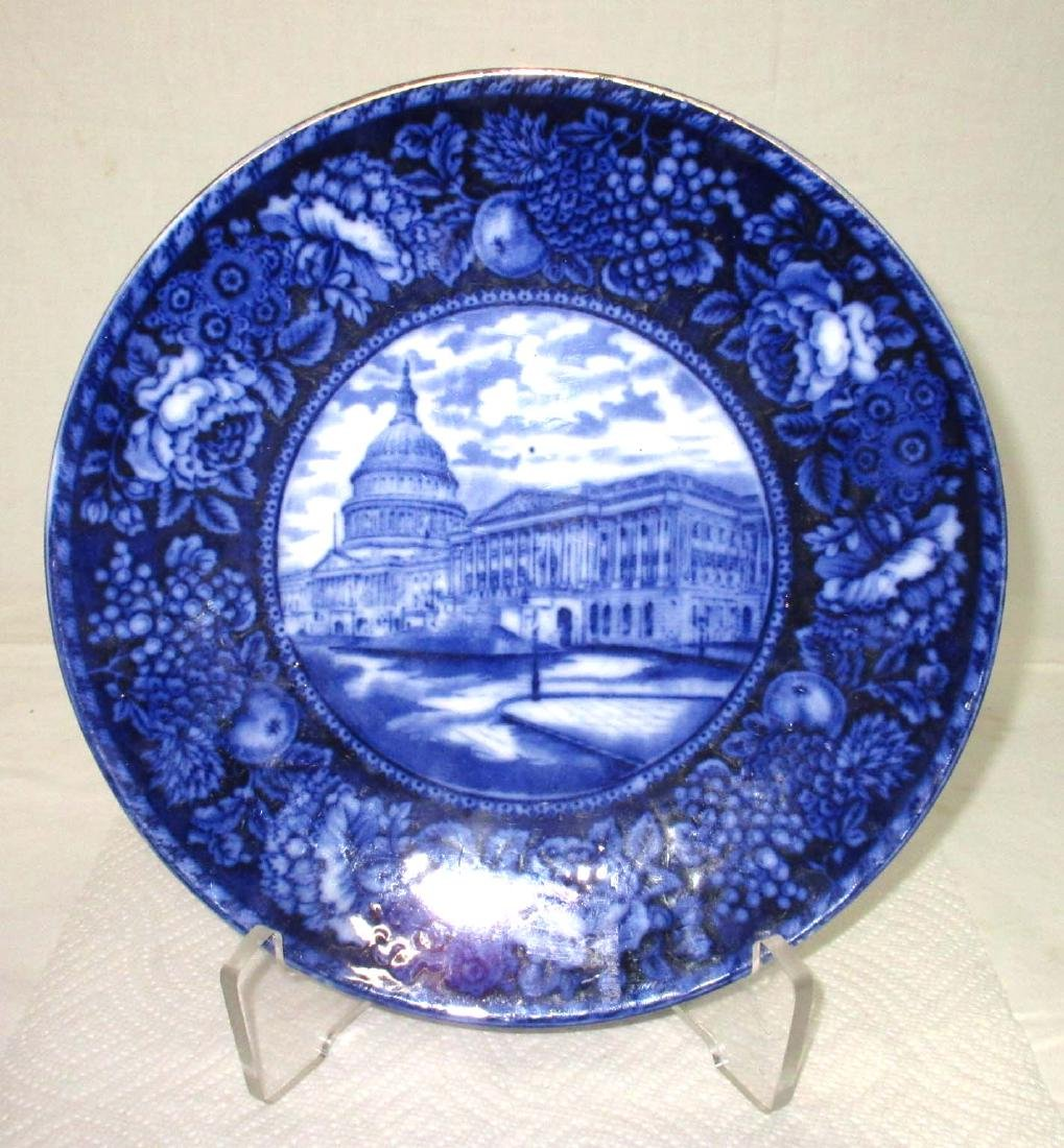 "Flow Blue Plate ""State Capital"""