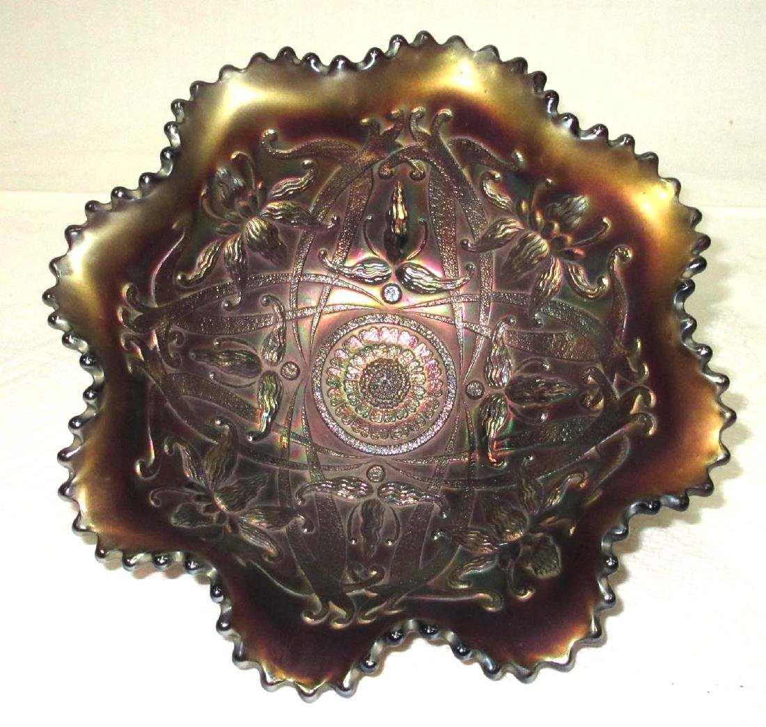 Northwood Carnival Glass Footed Bowl