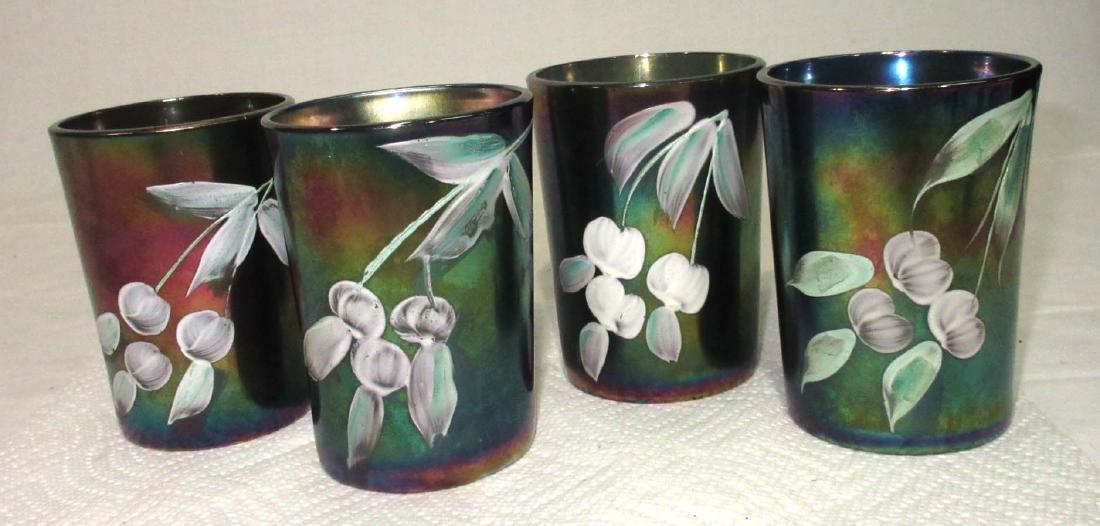 4 Vtg. Carnival Glass Tumblers