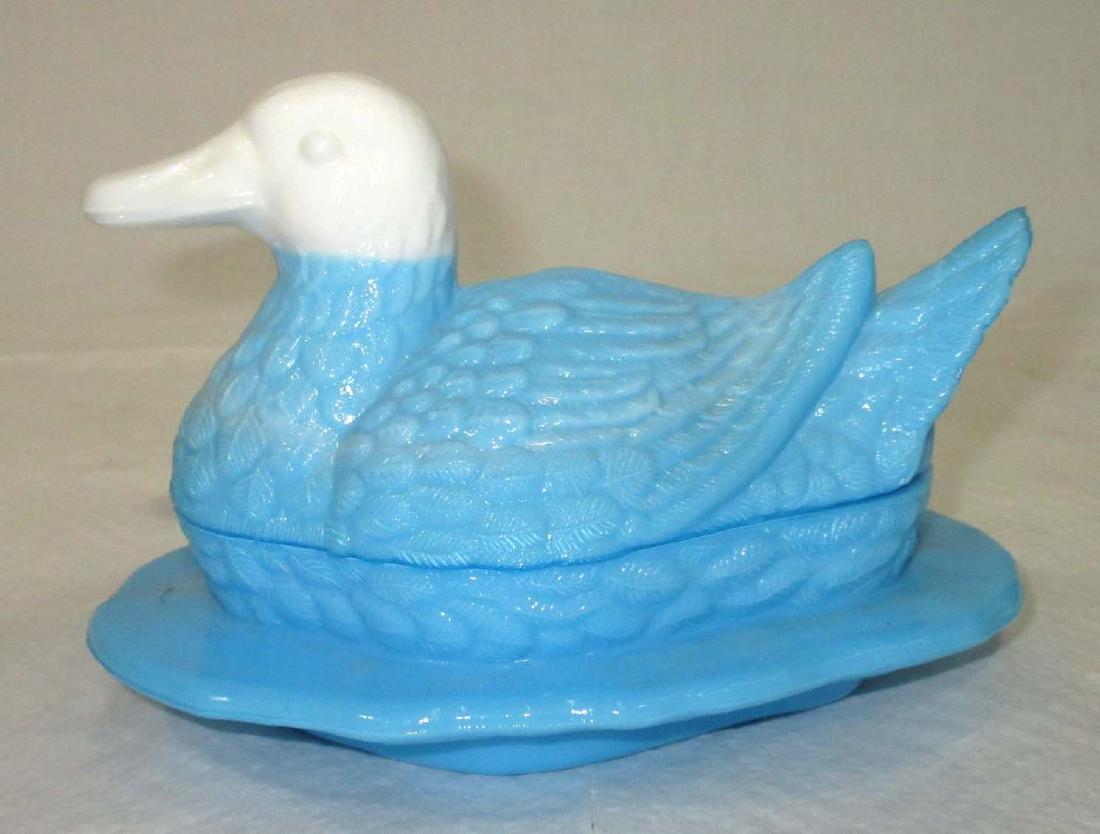 Vtg. Duck on Nest Covered Dish