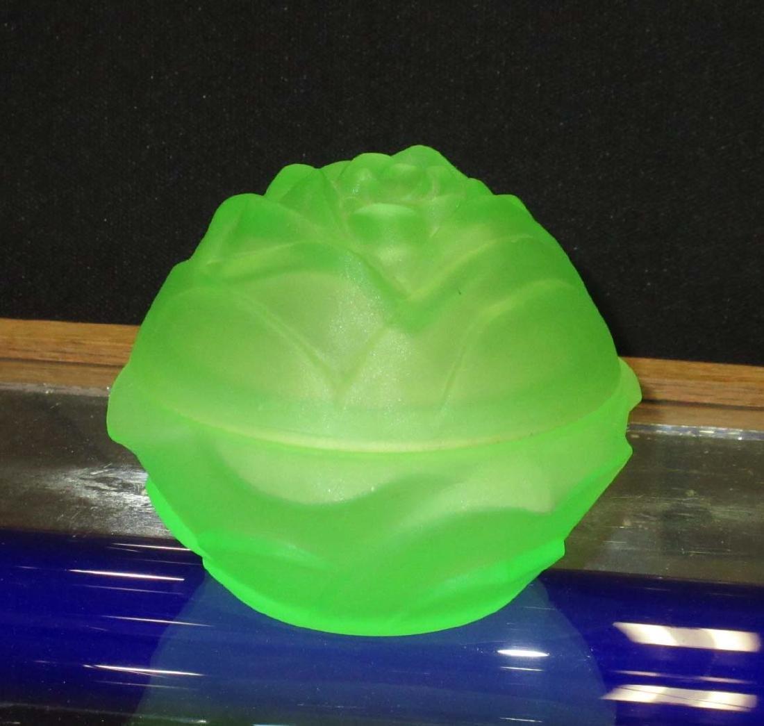 Vaseline Glass Powder Dish