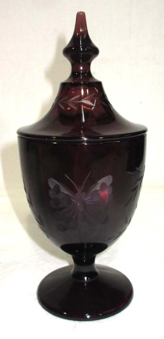 Amethyst Covered Dish w/ Etched Butterflies
