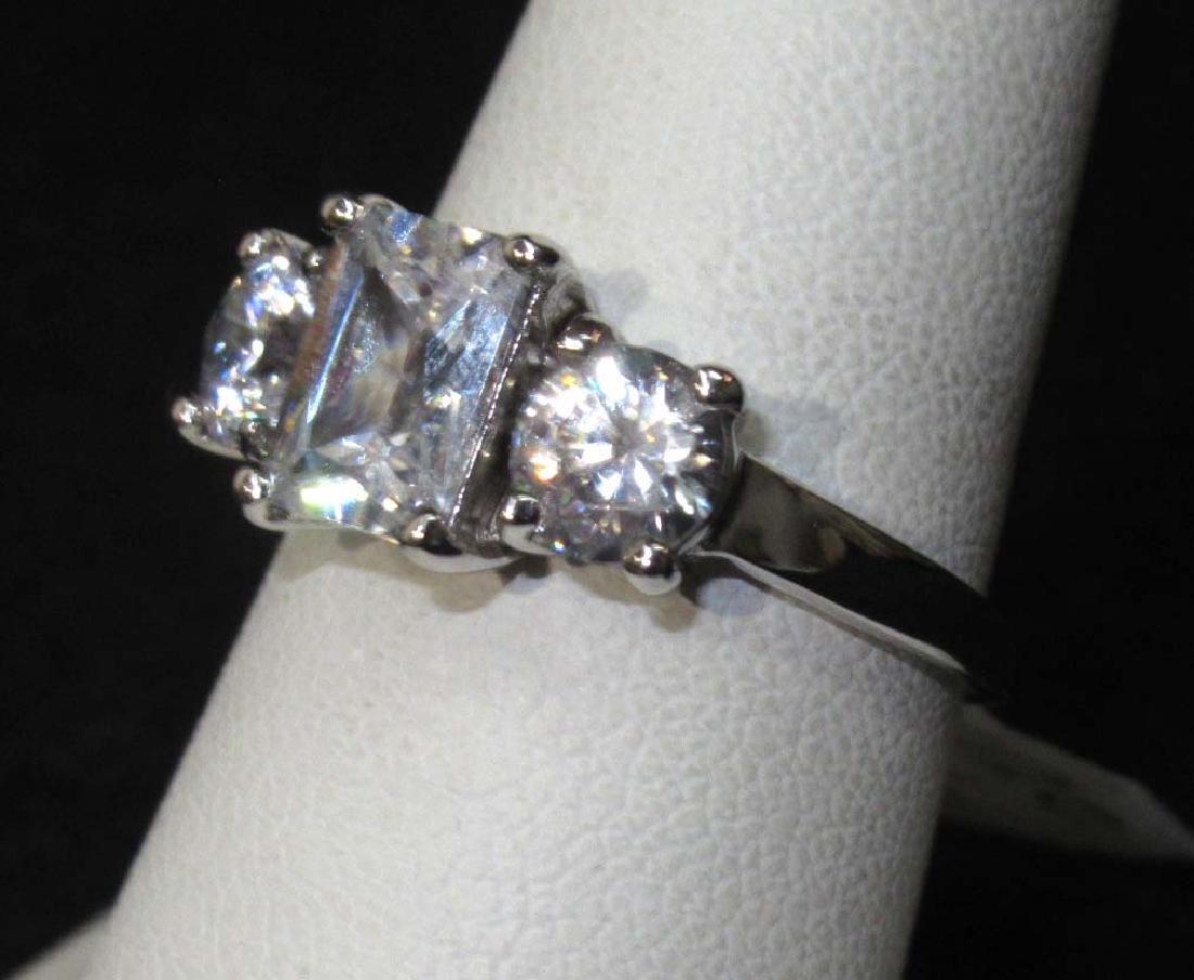 Sterling Cubic Zirconium Ring Sz 8 1/2