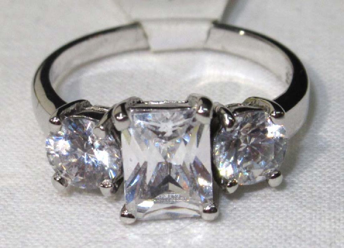 Sterling Cubic Zirconium Ring Sz 8 1/2 - 2
