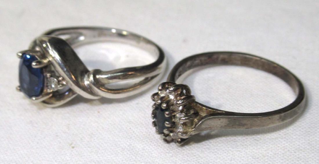 2 Sterling & Blue Topaz Rings