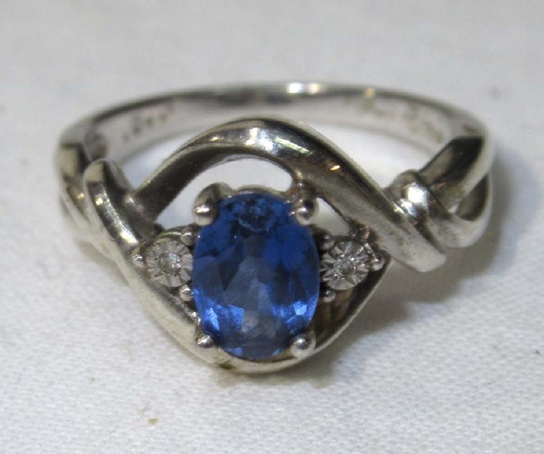 2 Sterling & Blue Topaz Rings - 2