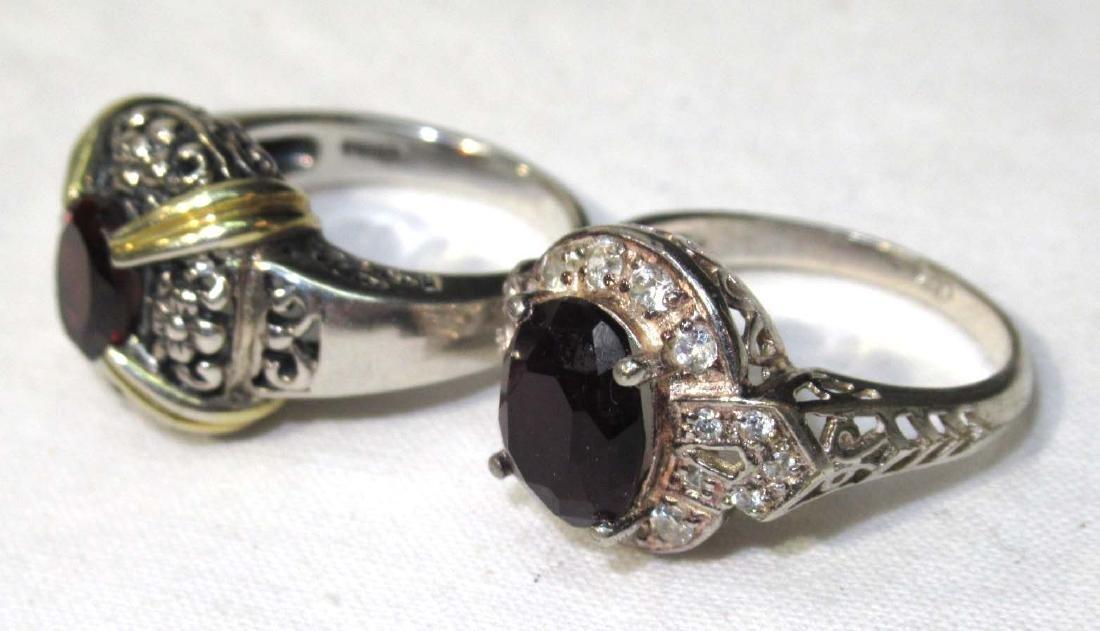 2 Sterling & Garnet Rings
