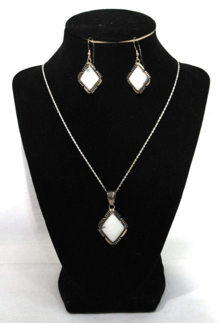 Sterling & White Buffalo Necklace & Earrings