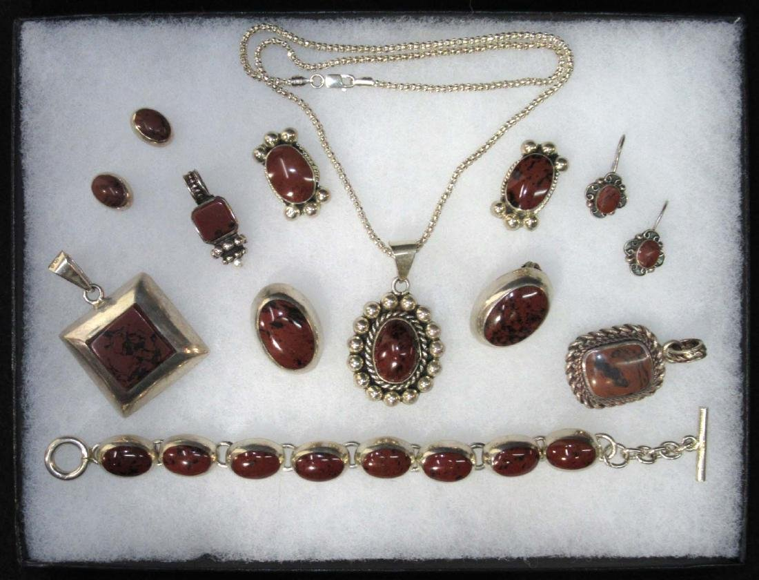 Sterling & Brownstone Jewelry Lot