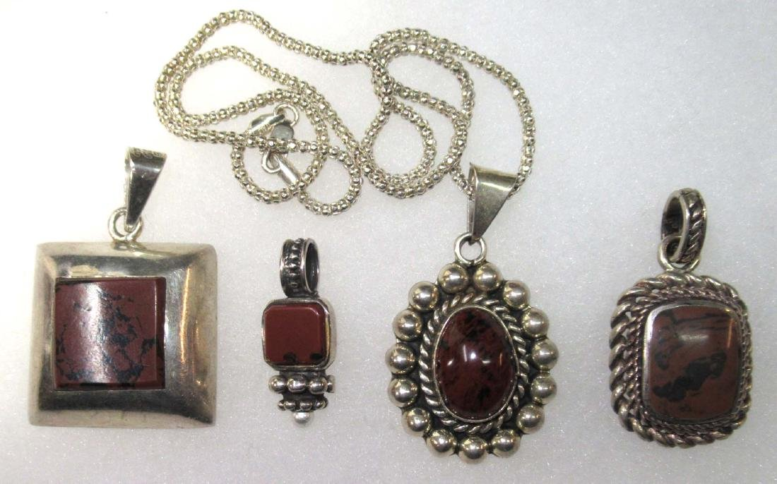 Sterling & Brownstone Jewelry Lot - 3