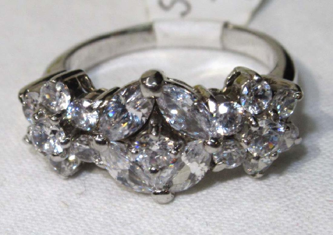 Sterling & Cubic Zirconium Ring Sz 7 - 2