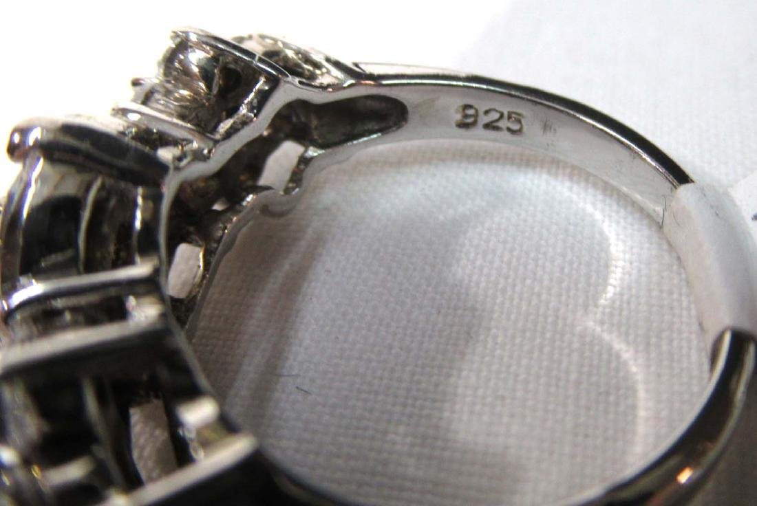 Sterling & Cubic Zirconium Ring Sz 7 - 4