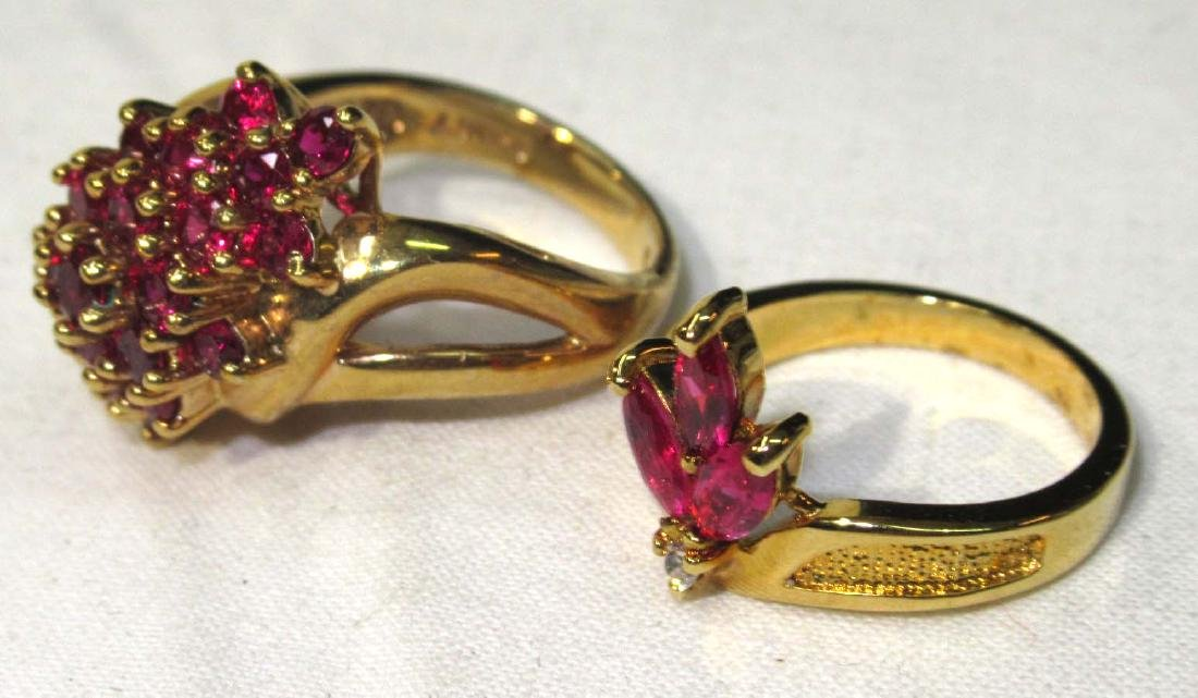 2 Sterling & Synthetic Ruby Rings