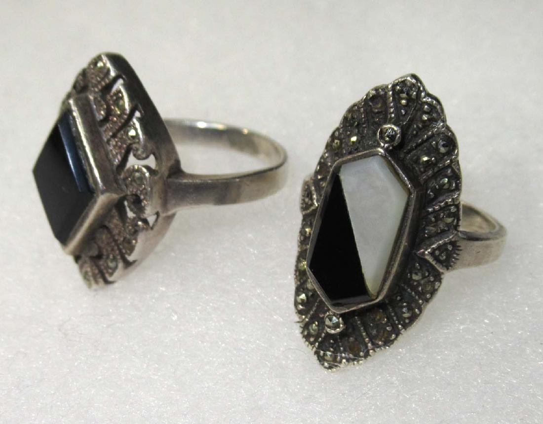 2 Sterling Marcasite & Onyx Rings