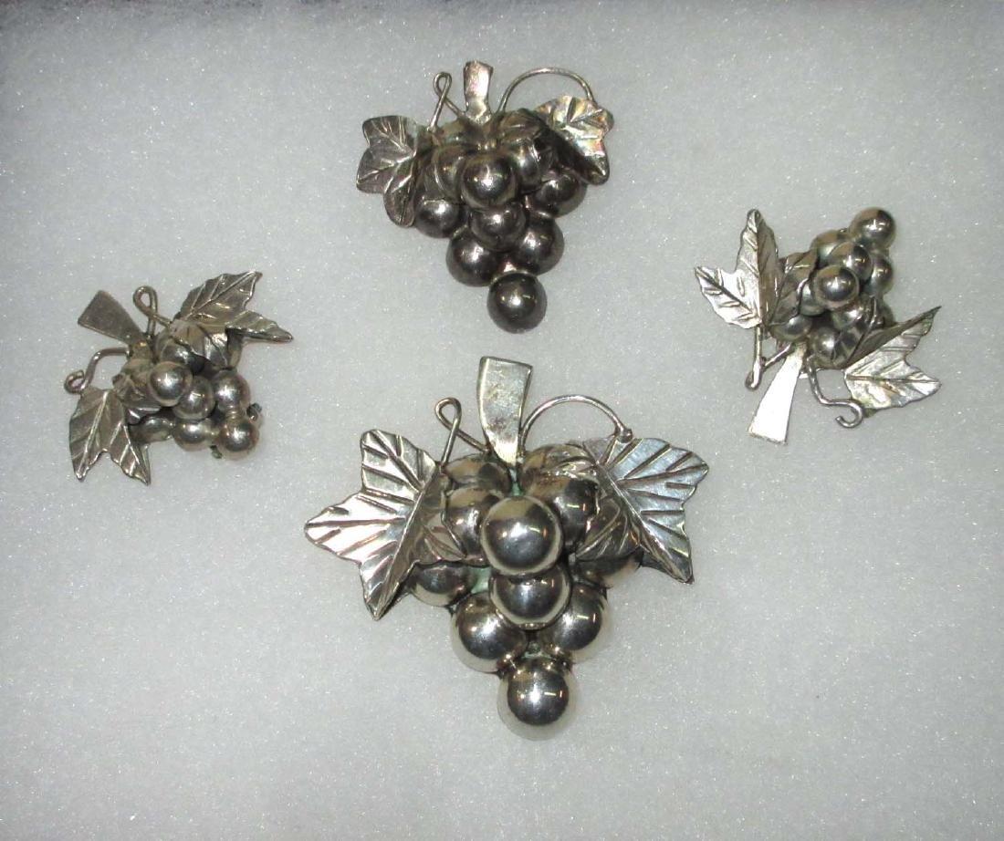 Vtg. Sterling Grape Pin,  Pendant & Earrings