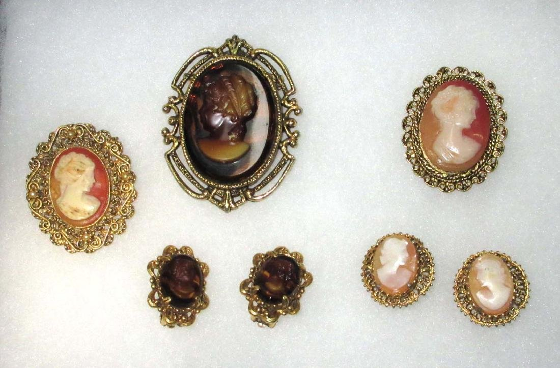 Lot of 5 Cameo Pins & Earrings