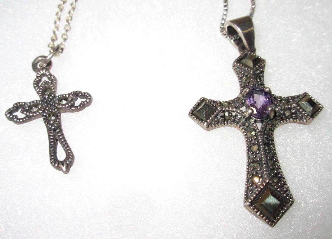 Lot of 5 Sterling & Marcasite Cross Necklaces - 2