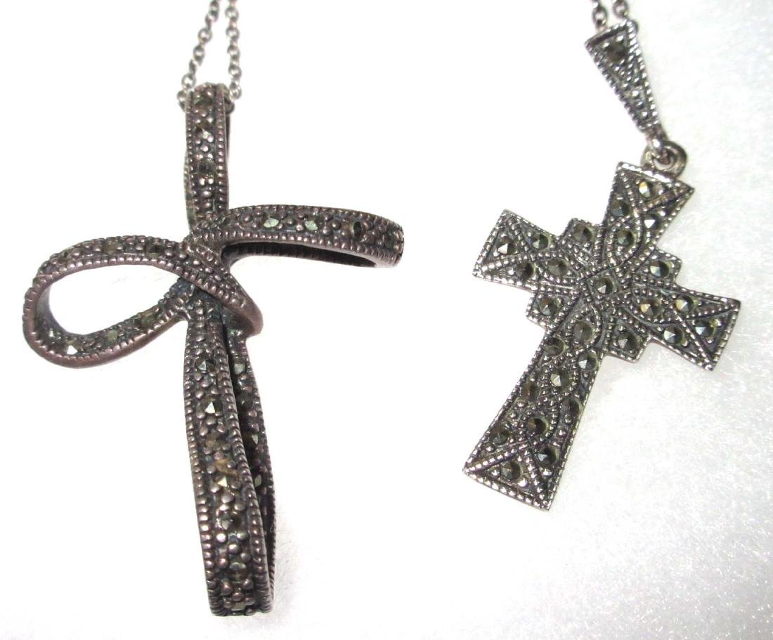 Lot of 5 Sterling & Marcasite Cross Necklaces - 3