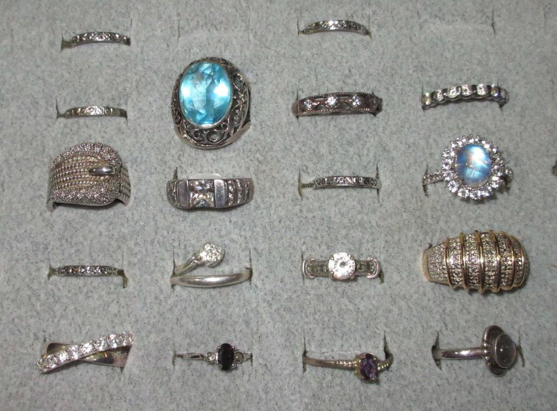 Lot of 18 Sterling Costume Rings