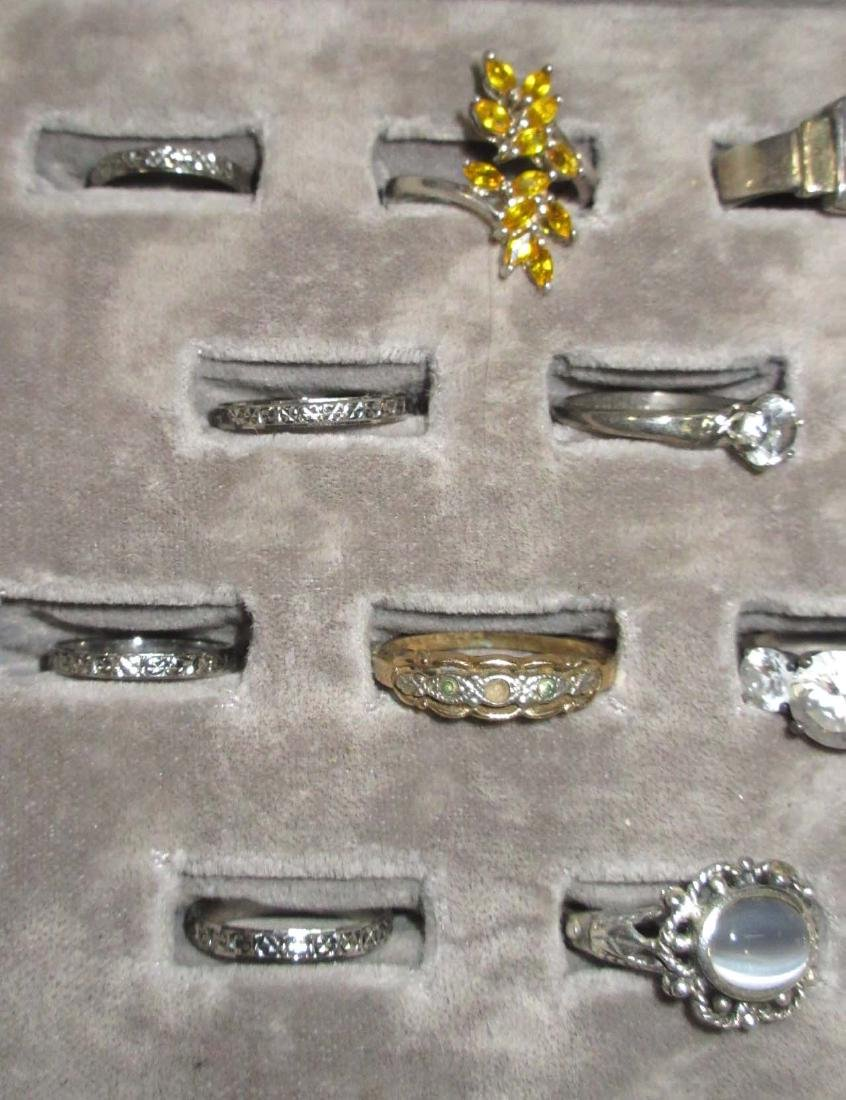 Lot of 18 Sterling Costume Rings - 2