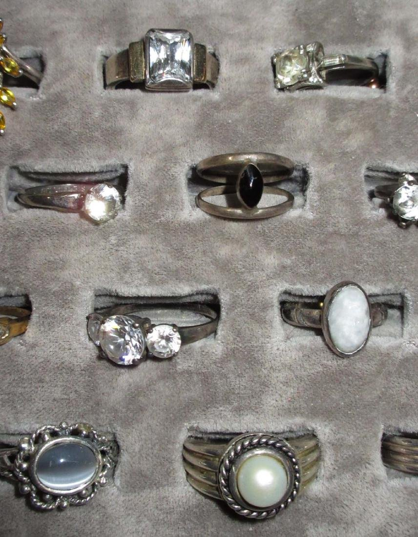 Lot of 18 Sterling Costume Rings - 3