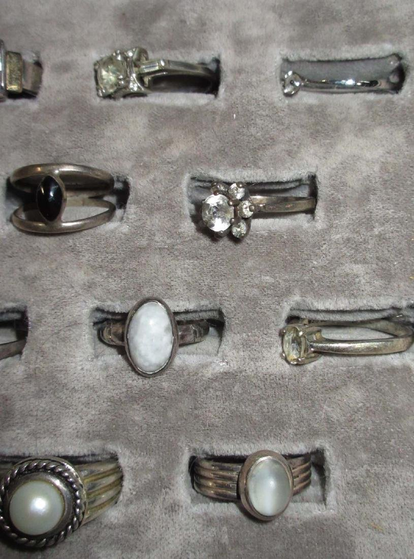 Lot of 18 Sterling Costume Rings - 4