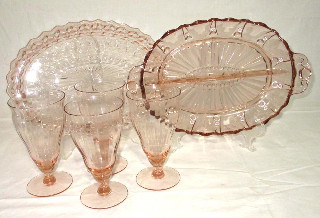 6pc Pink Depression Glass