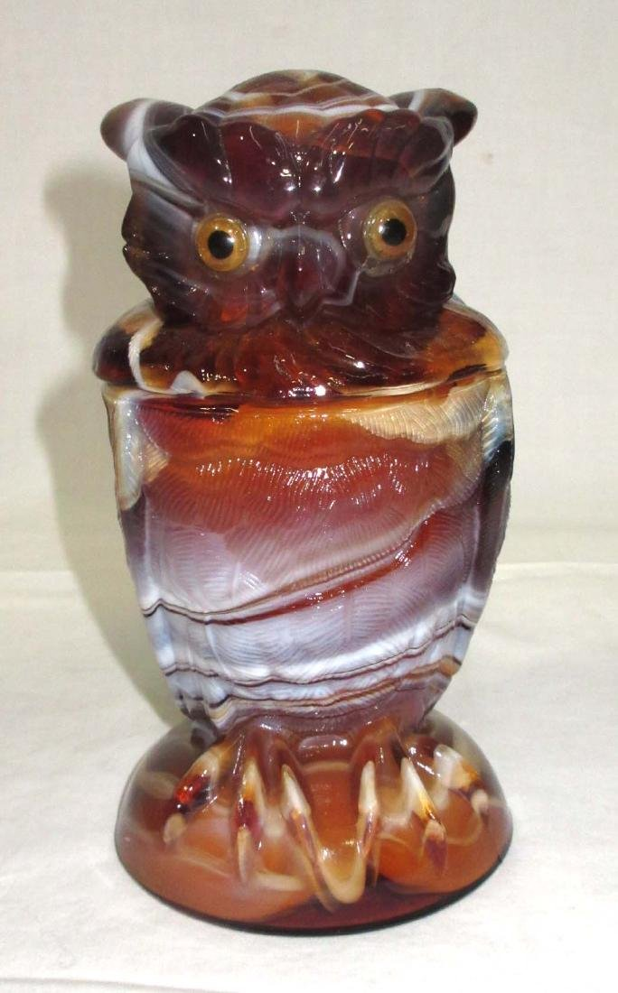 Caramel Slag Owl Covered Dish