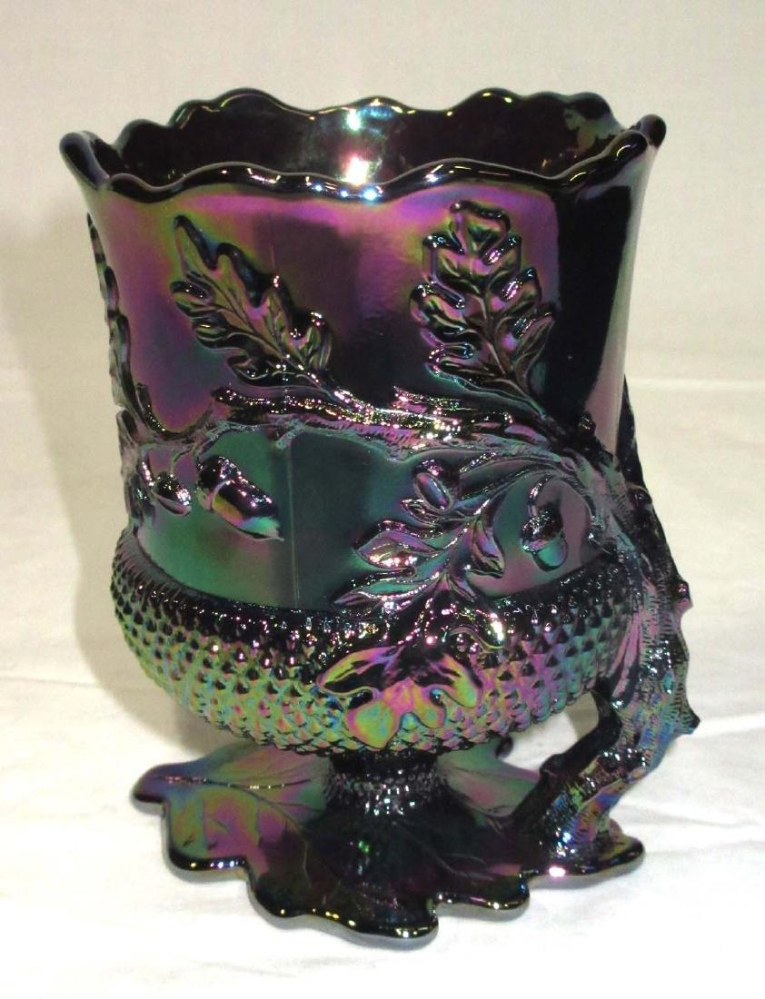 Carnival Glass Spooner w/ Acorns