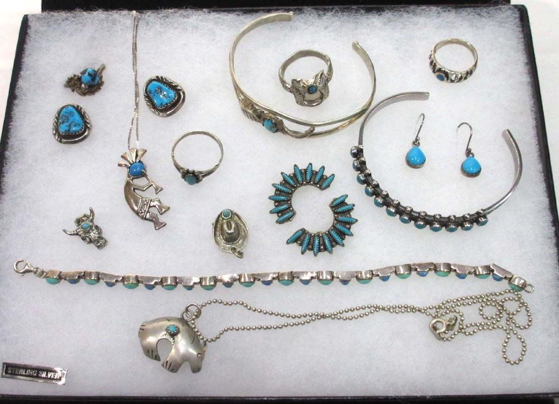 Sterling & Turquoise Lot Inc. Kokopelli Necklace